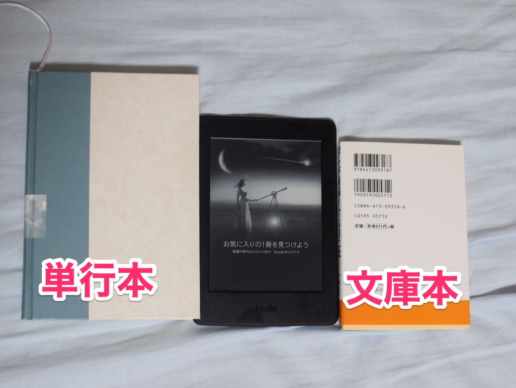 Kindle Paperwhiteと単行本、文庫本とのサイズ比較