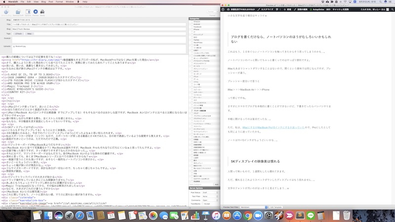 MarsEditの作業画面