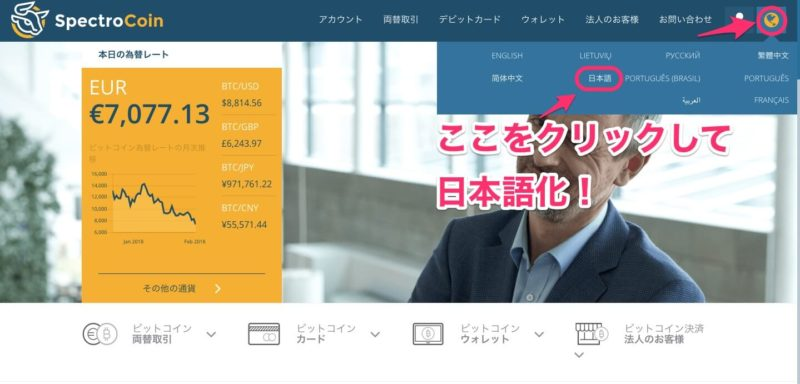 ここをクリックして日本語化